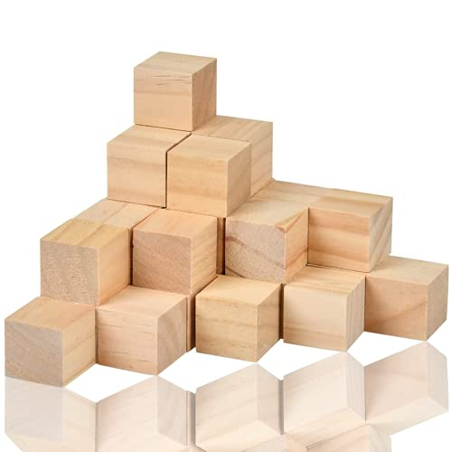 Wohlstand 30 Pcs Cubos Madera Bloques Cuadrados,Cubos de Madera Lisos Sin Acabar 3 * 3cm,Set Cubos Pequeños,Artes y Manualidades, Plantillas, Proyectos de Alfabeto y Números y Bricolaje