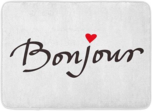 AoLismini Fußmatten Badteppiche Outdoor/Indoor Fußmatte Rosa Zeichnung Bonjour Schriftzug Tinte Hallo Abstrakt Tier Gezeichnet Frankreich Badezimmer Dekor Teppich Badteppich