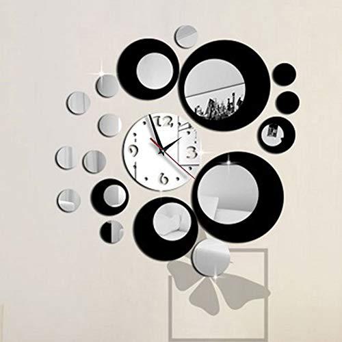 CXZC Horloge Murale créative Moderne DIY 3D Miroir Rond Art de la Surface Stickers Home Decor