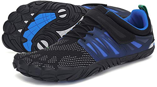SAGUARO Barfussschuhe Herren Outdoor Zehenschuhe Training Fitnessschuhe Damen rutschfest Barfuß Laufschue St.2 Dark Blau 39