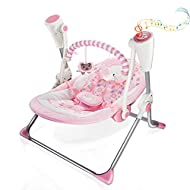 【Protection seat】The soft seat is adjustable to fit babies back, pressing the button to bend the angle. U-shape pillow gently holds babies head. The 5-point seat belt lock protects babies falling off. The seat pad is made of washable material - flann...