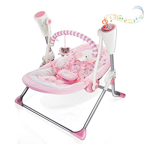 VASTFAFA Electric Baby Swing Infant Bouncer, Pink Chair Rocker with Mosquito Net,Bluetooth 16 melodies Control and 6 Speed, New Gift for Newborns Babies