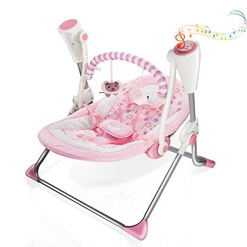 VASTFAFA Buttafuori neonato altalena elettrica, sedia a dondolo rosa con zanzariera, controllo melodie Bluetooth 16 e 6 velocità, nuovo regalo per neonati