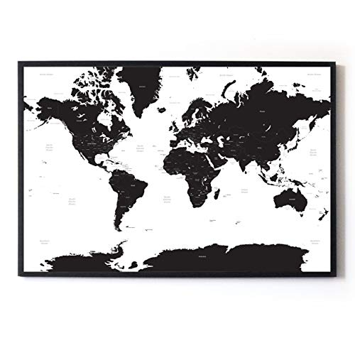 Large A1 White & Black Map of the World Travel PosterHANKEY Bathtub Pillow, Bath Pillow Bath and Spa Head Rest with Suction Cups Bath Cushion Bathing Pillow
