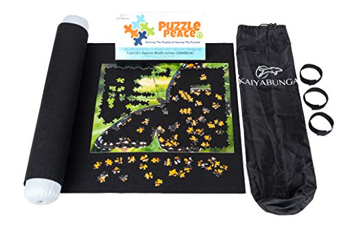 Jigsaw Puzzle Mat Roll Up- 300 500 750 1000 1500 Piece, Puzzle Saver, Keeper, Organizer, Preserver, Portable Storage Box, Drawstring Puzzle Bag, Inflatable Tube, Tray + Table Saver Toy