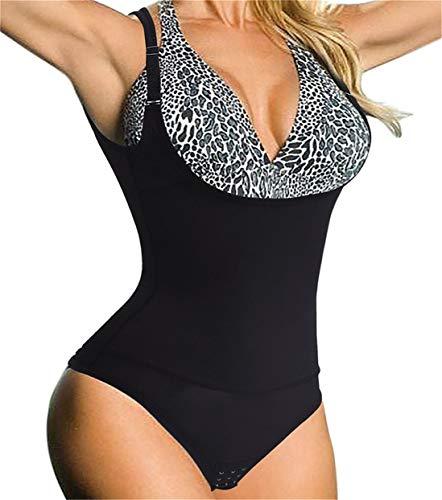 Chumian Donna Body Snellente Contenitivo Aperto Busto Shapewear Corsetto Bustino Shaper Intimo Modellante (Nero, Large)