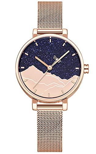 CIVO Reloj Mujer Relojes Pulsera Analogico Minimalistas Oro Rosa Acero Inoxidable Impermeable Reloj Mujeres Lujo Moda Fecha Calendario Casual Cuarzo