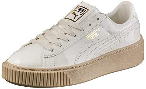 PUMA Damen Basket Platform Patent Sneaker, Weiß (Marshmallow-Marshmallow), 40.5 EU