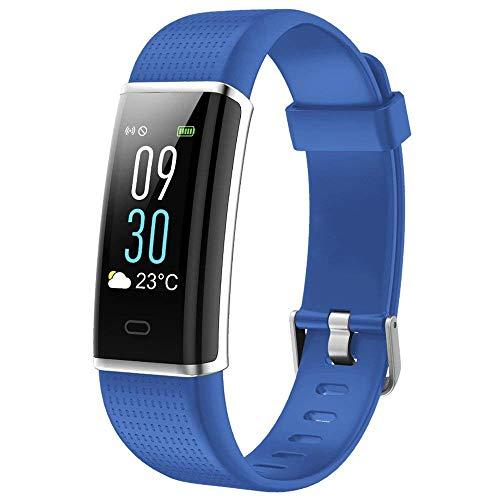 LANSKIRT Fitness Armband mit Pulsmesser, IP68 Fitness Tracker Farbbildschirm Aktivitätstracker Schrittzähler Uhr 14 Trainingsmodi Vibrationsalarm Anruf SMS Beachten mit iOS Android Handy (☆ Blau)