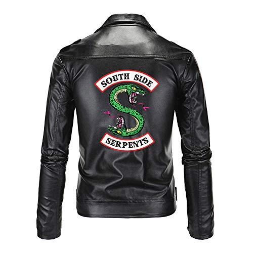 Yuanou Southside Riverdale Turn Down Collar PU Chaquetas de Cuero Serpientes Moda Hombre Cool Streetwear South Side Serpent Jacket