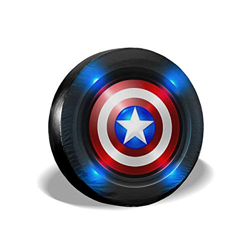 Custom Spare Tire Cover Captain America Waterproof Universal Wheel Tire Cover Protector for Jeep,Trailer, RV, SUV and Trucks (14-17 Inches)