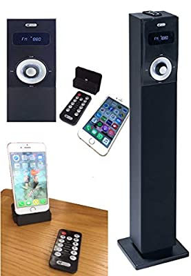 Acoustic Solution Bluetooth Speaker Station Tower with FM Radio, supplied with Docking Station for iPhone 5, 6, 7, 10 &11 by Psyc