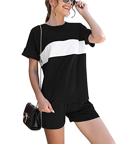 Doaraha Pijama Mujer Verano Corto, Conjunto de Camisaeta con Cuello Redondo y Pantalón Corto, Traje Corto Casual De Dos Piezas Mujer, Conjunto de Chándal Deportivo Corto Mujer, Negro, XL