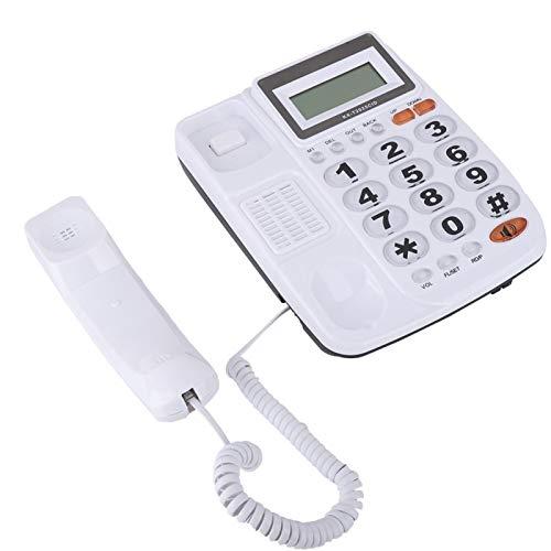 Zhiyavex Teléfono residencial con Cable con identificador de Llamadas, teléfono Fijo con Cable de Escritorio con Altavoz, Altavoz de Doble Puerto con botón Grande y Pantalla LCD(Blanco)