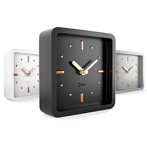 Driini Modern Mid Century Desk and Table Analog Clock (Black