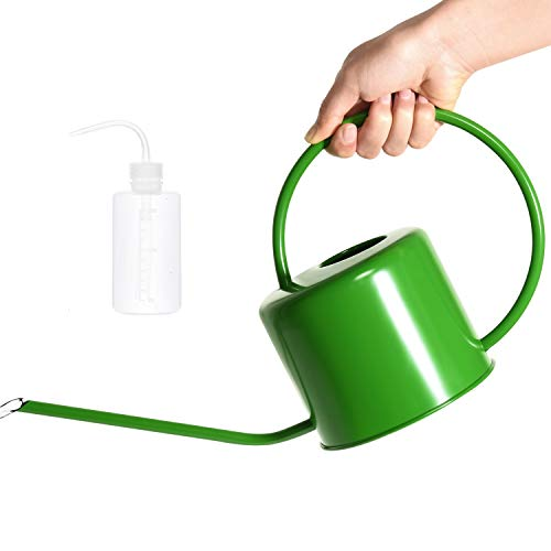 Vumdua Indoor Outdoor Watering Can, 40oz Long Spout Plants Watering Cans, Stainless Steel Water Can for House Bonsai Plants Garden Flower, Green