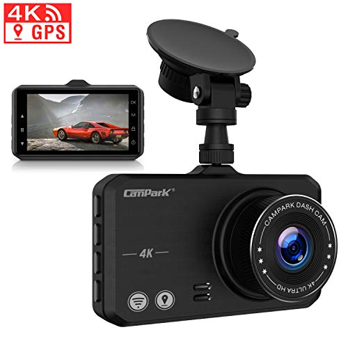 "Campark 4K Dash Cam with Wifi GPS Dashboard Camera Recorder for Cars with Ultra HD 2160P 3"" IPS Screen 170° Wide Lens Loop Recording G-Sensor Parking Monitor and Super Night Vision"