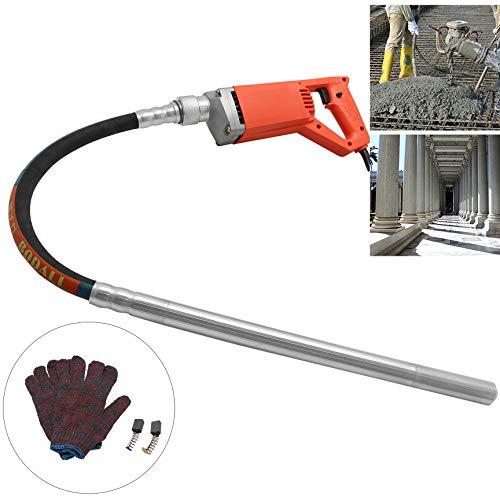 Hanchen Vibrador de Hormigón Industrial 850W Hormigonera Portátil Mezclador de Concreto Eléctrico Diámetro de 25mm con Manguera de 1/1.5m para Construcción de Pérgolas/Barandas (Manguera de 1.5m)