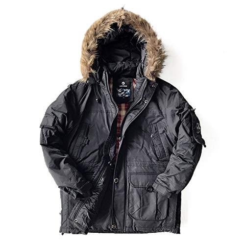 AXIANNV Doudoune Homme, Épais Outwear Imperméable Hommes Down Parka Vestes Snow Coat, Noir, XXL