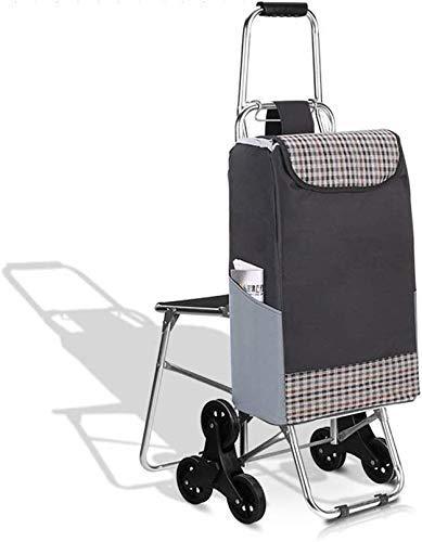 MJY Carrito de compras plegable multifunción portátil plegable, sillas de bicicleta de montaña de 3 ruedas para diseño capacidad máxima 30L,UNA