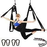WDMSN Hamaca de Yoga con Tela de ParacaíDas Y Asas, Gran InversióN para La Salud Interior Y Exterior, Hamaca de Pilates, Negra