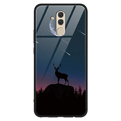Yoedge Huawei Mate 20 Lite Hülle, Stoßfest Hybrid Schutzhülle [TPU Silikon + Glas Rückseite] mit Muster Motiv Handyhülle Kratzfeste Hardcase Rückschale Cover für Huawei Mate 20 Lite, Schaf
