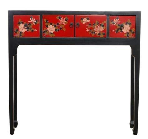 Fine Asianliving Chinesische Konsolentisch Orientalische Möbel Beistelltisch Dekotisch Konsole Telefontisch Tischchen Sofatisch aus Holz Kaffeetisch Couchtisch Sidetable 95 x 90 x 25cm