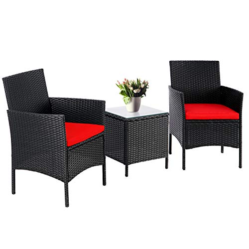SUNCROWN 3-Piece Patio Bistro Set, Outdoor Black Wicker Chairs, Patio Furniture Set with Glass Table, Red Cushion