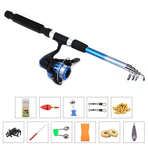 Lixada Fishing Rod and Reel Combos Full Kit Sea Telescopic Fishing Pole Spinning Reel Set with Fishing Reel,Lures,Hooks,Barrel Swivel,Carrier Case