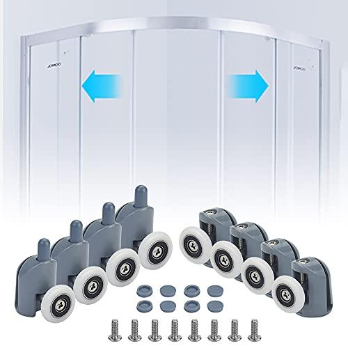 STCRERAG Rodillos para puerta de ducha, juego de 8 ruedas para puerta de ducha, correderas inferiores, 23 mm de diámetro, piezas de repuesto (4 superiores y 4 inferiores)