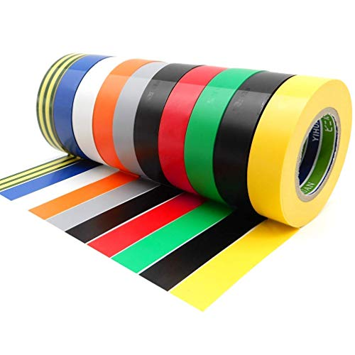 10 Pack Electrical Tapes - Maveek 0.67Inch 65.6Ft PVC Waterproof, Flame Retardant, Strong Rubber Based Adhesive Gaffer Tapes(9 Colors)