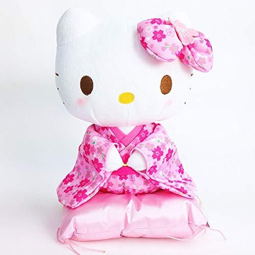 Sanrio Hello Kitty Plush Maneki-Neko Beckoning Cat Pose Pink Kimono 24cm Japan Import