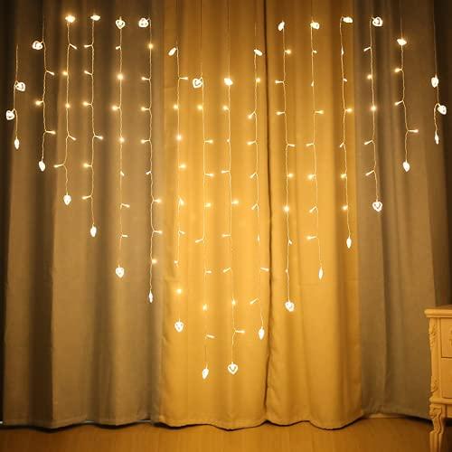 Wandskllss Cadena de luces LED cálidas de color blanco cálido, para dormitorio, habitación, hadas, Navidad, cortina, decoración de color blanco cálido, modelo enchufable