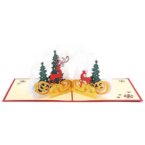 Tarjetas de Navidad hechas a mano para Navidad Año Nuevo ciervos