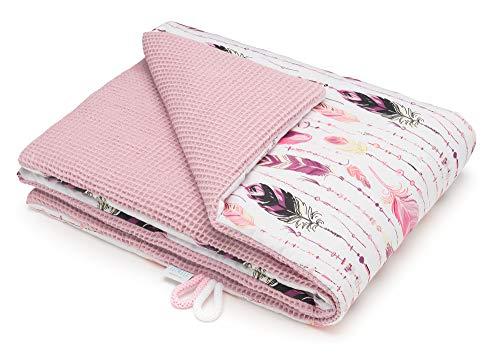 EliMeli BABYDECKE Kuscheldecke 100% Baumwolle - Warme Baby Decke aus Waffelstoff mit Füllung Ideal als Kinderwagendecke Geschenke für Junge und Mädchen neue Kollektion (Rosa - Federn)