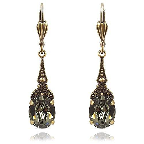 Jugendstil Ohrringe mit Kristallen von Swarovski® Gold Grau NOBEL SCHMUCK