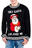 Tipsy Elves Men's Only Santa Can Judge Me Ugly Christmas Sweater - Funny Christmas Sweater: Large Black