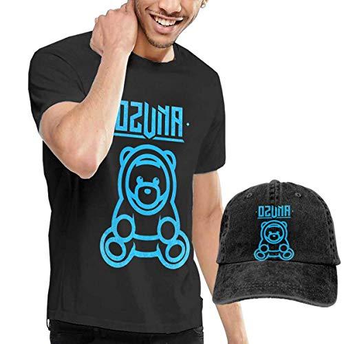 sunminey Herren Kurzarmshirt Men's Ozuna Bear Crew Neck Tee Trendy Short Sleeves T-Shirt with Baseball Cap Black