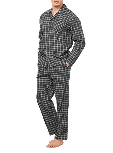DAVID ARCHY Men's Flannel Pajama Set Soft Cotton Button-Down Sleepwear With Fly PJ Set Lounge Wear (XL, Black Plaid)