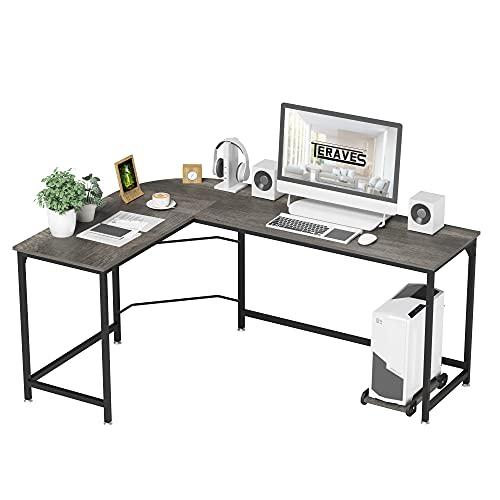 Teraves Reversible L-Shaped Desk Corner Gaming Computer Desk Office Workstation Modern Home Study...
