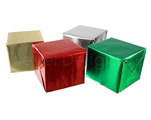CleverDelights Metallic Wrapping Paper - 4 Rolls - Silver Gold Green Red - 30' x 300' JUMBO Rolls - 250 Sq Ft Total