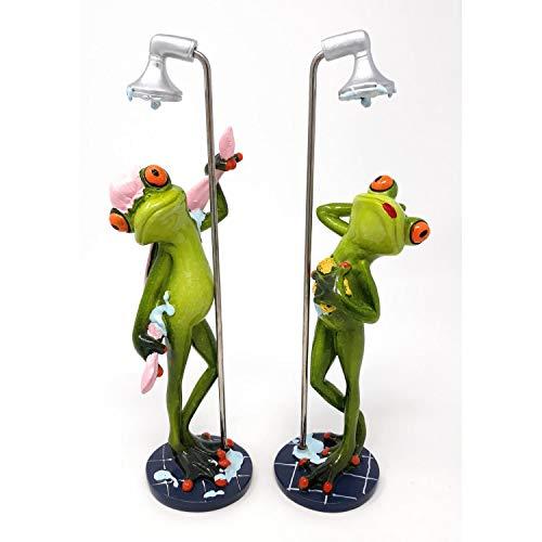 Süßer Frosch unter der Dusche mit Duschhaube Deko Figur Dekofigur Zierfigur Bad