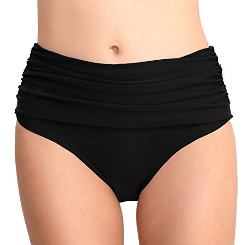 FEOYA Damen Hipster Bikini-Hose mit Raffungen Unifarben Bikinihose High Waist Ruched Tankinihose Hoch Geschnitten Badeshorts Bikinislip Bauch Weg Schwarz XL