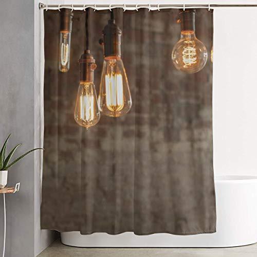 GUUi douchegordijn, waterproof wasbare badgordijn, decoratieve antieke Edison stijl lichtgloeilampen oogschaduw voor de badkamer met 12 haken