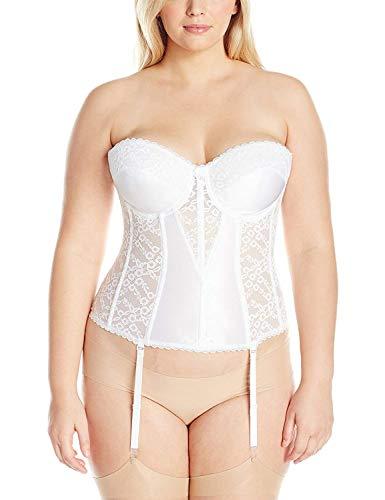 Va Bien Women's Plus Size Lace Hourglass Bustier, White, 46DD
