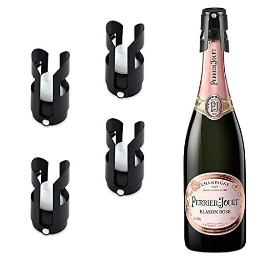 JiaHome 4 Pezzi Tappi Bottiglie Vino, Bottiglia di Vino e Champagne Tappi Vino Inossidabile,Tappo Vino sottovuoto,Tappi per Vino Keep Fresh