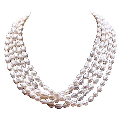 JYX - Collana da donna con 5 fili di perle d'acqua dolce coltivate bianche, 6,5-7 mm