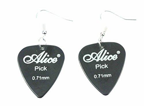 Miniblings Plektrum Plektron Ohrringe Hänger Gitarre E-Gitarre Band schwz - Handmade Modeschmuck I Ohrhänger Ohrschmuck versilbert