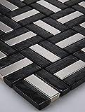 mosaico de cristal mosaico negro plata baldosas mosaico cristal transparente metal mosaico acero inoxidable 15x 15cm