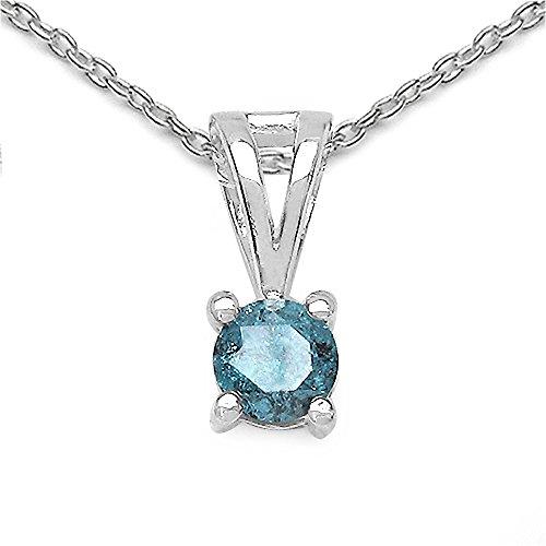 Silvancé – Collana da donna – Argento 925 rodiato – vere pietre a scelta e Argento, colore: Gemma autentica: diamante blu., cod. P2531BLD25_SSR
